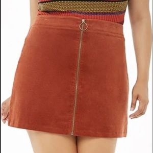Forever 21 Zip Front Brown/Orange Corduroy Skirt